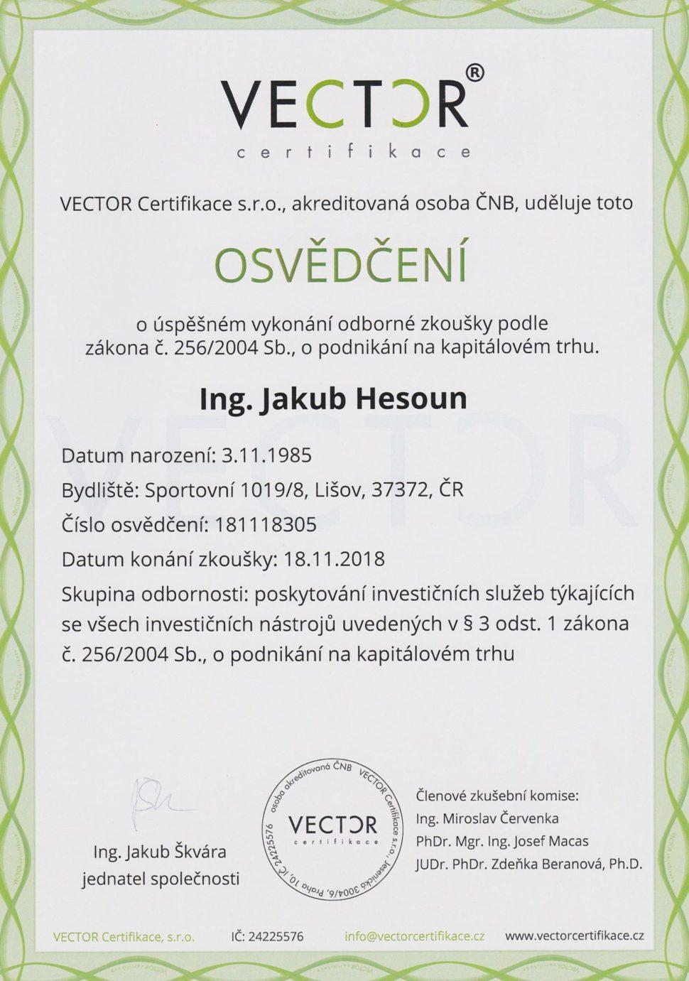 Udělila: VECTOR Certifikace